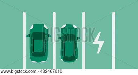 Electric Car Parking. Two Eco Cars On Parking Place For Charging, A Top View. Vector Illustration Ep