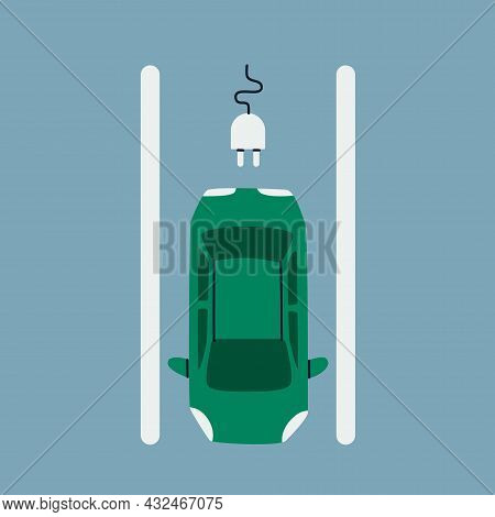 Electric Car Parking. Passenger Car On A Parking Space For Charging, Top View.