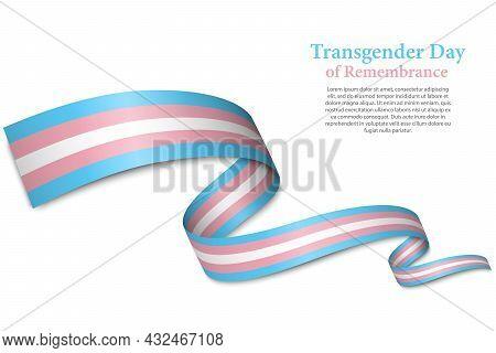 Waving Ribbon Or Banner With Transgender Pride Flag
