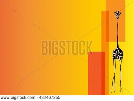 Vector Image The Giraffe Body On The Orange Background, Giraffe Logo, Giraffe Template, Africa Safar