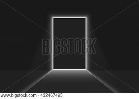 Close Door Light In A Dark Room. Bright Doorway Background