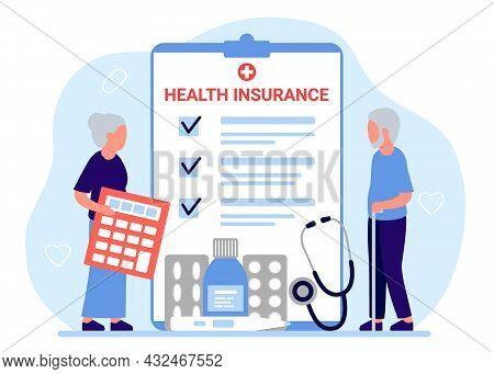 Health Insurance Senior People, Tax Claim Law Document. Elderly Man And Woman Count Medical Form Of
