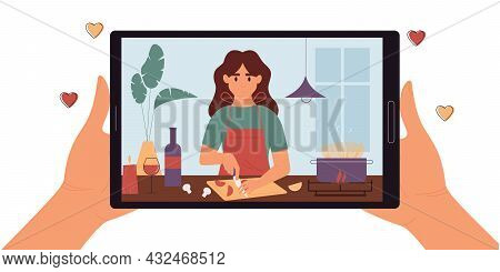 Hands Holding Digital Tablet With Girl Blogger On Screen.culinary Video Broadcast, Channel, Live Bro