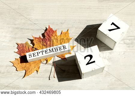 Calendar For September 27 : The Name Of The Month Of September In English, Cubes With The Number 27,