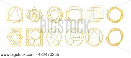 Golden Geometric Frames. Art Deco Style For Wedding Invitation. Realistic Unusual Objects. Icons For