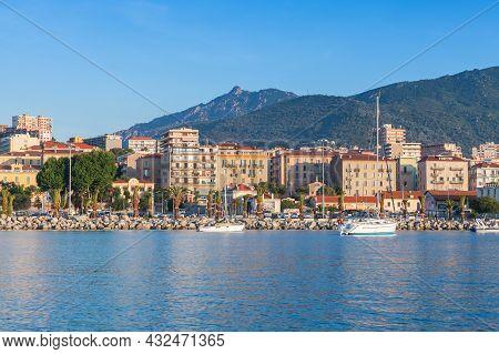 Ajaccio, France - June 30, 2015: Ajaccio Port On A Sunny Morning, Seaside View, Corsica Island