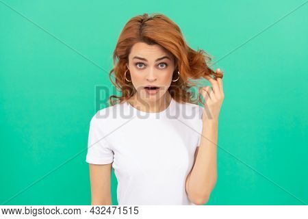 Surprised Redhead Girl With Curly Hair On Blue Background, Surprise