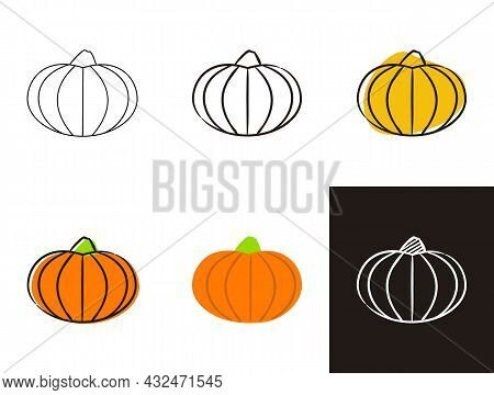 Pumpkin Icons Set Isolated On White Background. Hand-drawn Contour Icon In Doodle Style, Flat And Ch