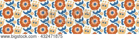 Abstract Playful Matisse Style Cut Out Flower Border. Seamless Modern Scandi Collage Style Edging Fo
