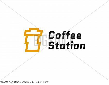 Paper Coffee Cup With Lightning Thunder Bolts Logo. Coffee Station Energy Modern Minimalist Logotype