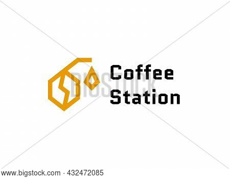 Coffee Bean With Refueling Gun Logo. Coffee Shop At Gas Station Logotype Concept. Coffee Station Mod