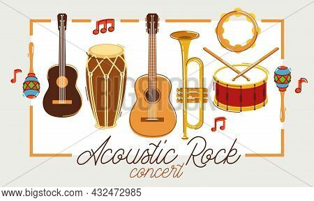 Acoustic Music Instruments Poster Vector Flat Illustration Isolated On White, Rock Ballads Concert O