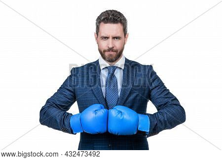 Ill Knock You Out. Serious Boss Wear Boxing Gloves. Boxing Competition. Business Rivalry