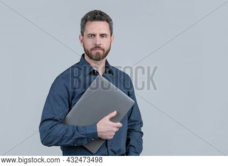 Virtually Connected. Unshaven Man Hold Laptop. Online Courses. Online Ccommunication