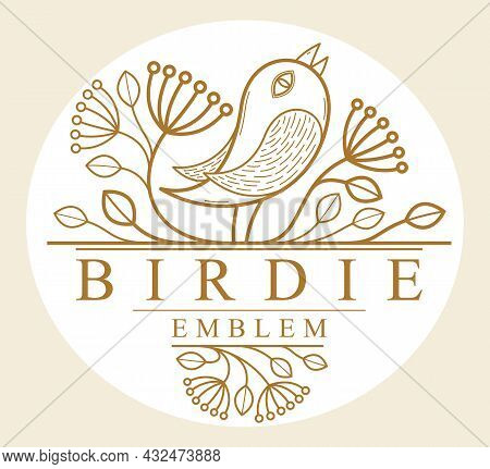 Bird On A Branch Floral Vector Design With Leaves Isolated Over White, Classical Elegant Fashion Sty