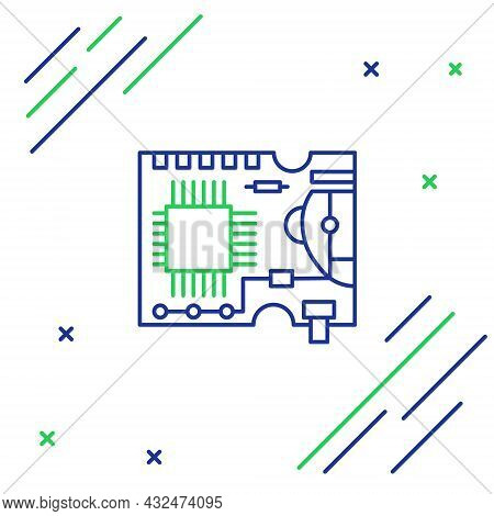 Line Printed Circuit Board Pcb Icon Isolated On White Background. Colorful Outline Concept. Vector