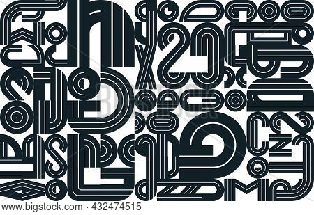 Seamless Geometric Pattern Vector, Abstract Background Design With Black And White Elements Taken Fr