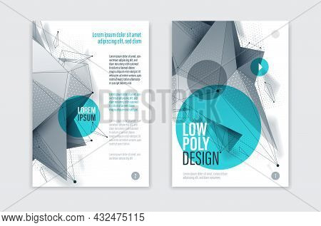Low Poly Abstract Form Isolated Creative Cover, Vector Future Shape Design Polygonal Art Brochure, D