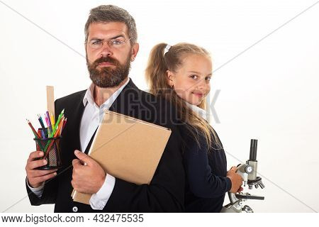 Back To School, Student Girl With Uniform. Portrait Of Pupil School Girl And Tutor With School Suppl