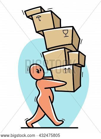 Delivery Courier Funny Cartoon Man Carrying A Lot Of Boxes Vector Flat Style Illustration Isolated O
