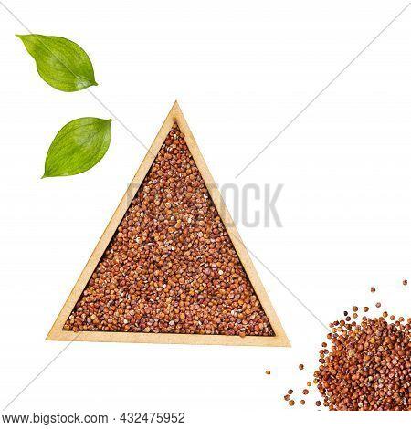 Organic Red Quinoa Seeds In Triangle Shaped Bowl - Chenopodium Quinoa