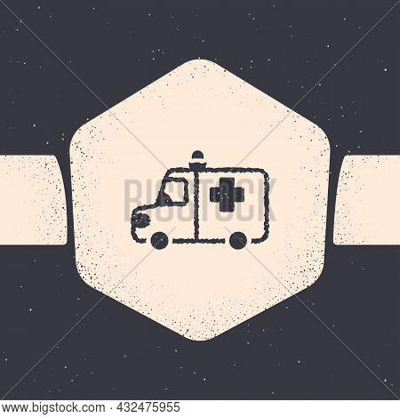 Grunge Ambulance And Emergency Car Icon Isolated On Grey Background. Ambulance Vehicle Medical Evacu