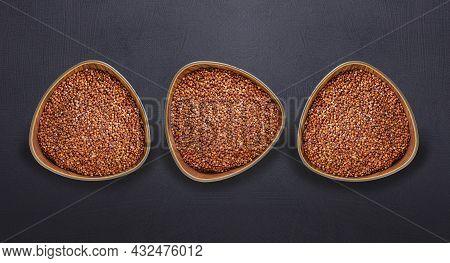 Organic Red Quinoa Seeds In Three Bowls - Chenopodium Quinoa