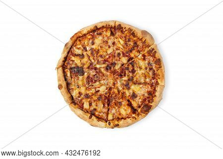 Tasty Hawaii Pizza Isolated On White Background. Top View On Paperoni Pizza. Concept For Italian Foo