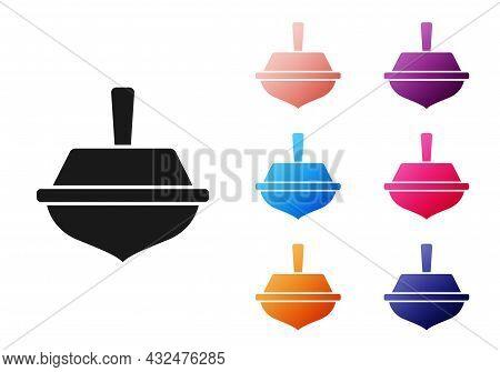 Black Hanukkah Dreidel Icon Isolated On White Background. Set Icons Colorful. Vector