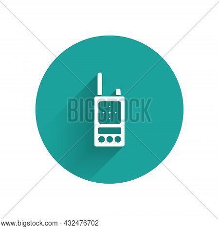 White Walkie Talkie Icon Isolated With Long Shadow. Portable Radio Transmitter Icon. Radio Transceiv