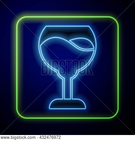 Glowing Neon Wine Glass Icon Isolated On Blue Background. Wineglass Sign. Vector
