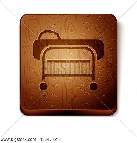 Brown Stretcher Icon Isolated On White Background. Patient Hospital Medical Stretcher. Wooden Square