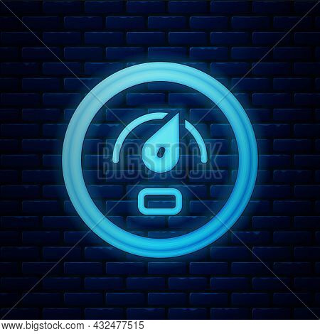 Glowing Neon Digital Speed Meter Concept Icon Isolated On Brick Wall Background. Global Network High