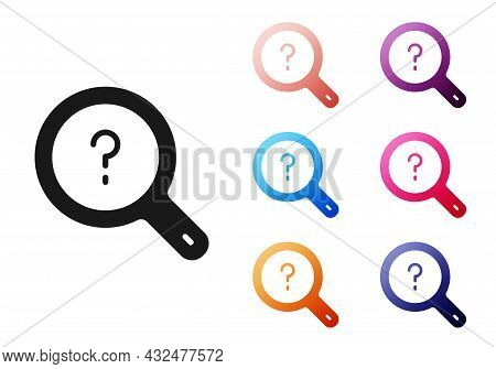 Black Unknown Search Icon Isolated On White Background. Magnifying Glass And Question Mark. Set Icon