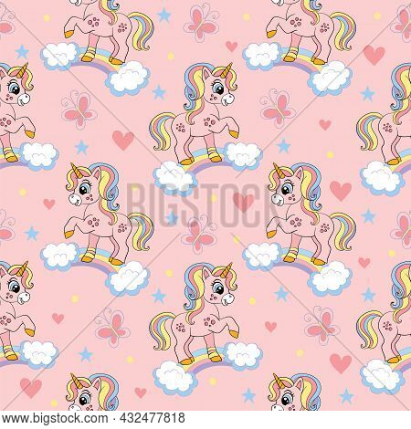 Seamless Pattern With Cute Unicorns On A Rainbow, Butterflies And Hearts. Magic Background With Unic