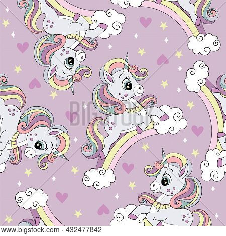 Seamless Pattern With Cute Unicorns On A Rainbow, Clouds And Stars. Magic Background With Unicorns.