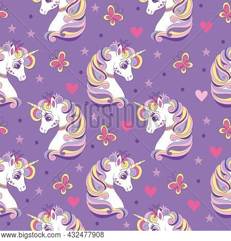 Seamless Pattern With Unicorns Heads, Butterflies, Hearts And Stars. Magic Background With Unicorns.