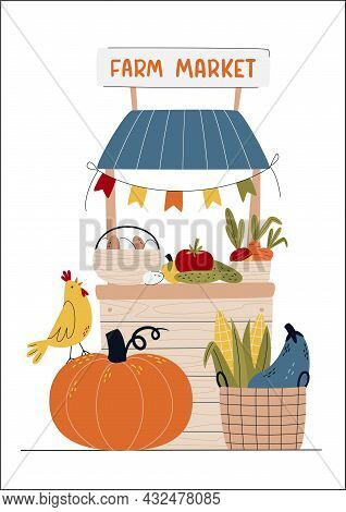 Farm Market Or Eat Local Concept. Selling Fruits And Vegetables. Buy Fresh Organic Products From The