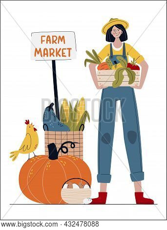 Farmer Woman In Modern Style.  Farm Market Or Eat Local Concept.   Buy Fresh Organic Products From T