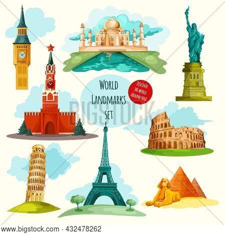 World Landmarks Decorative Icons Set With Eiffel Tower Big Ben Coliseum Isolated Vector Illustration