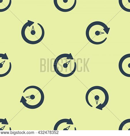 Blue Digital Speed Meter Icon Isolated Seamless Pattern On Yellow Background. Global Network High Sp