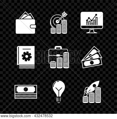 Set Wallet With Stacks Paper Money Cash, Target Coin Symbol, Computer Monitor Graph Chart, Stacks, L