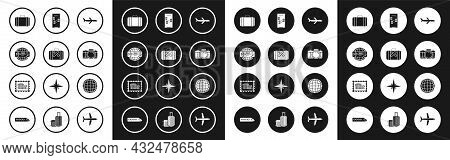 Set Plane, Suitcase For Travel And Stickers, Airline Ticket, Photo Camera, Infographic Of City Map N