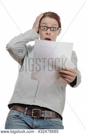 Shocked Person Woman Reading Bad News Letter,  Bill Invoice Tax Fee Costs Termination