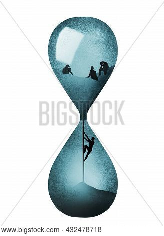 A Man Inside An Hourglass Tries To Climb Back Up To Turn Back Time In This 3-d Illustration.