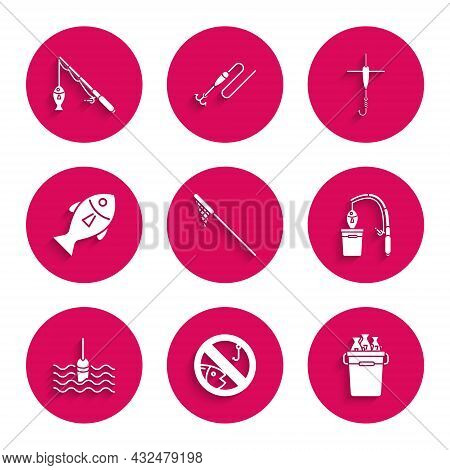 Set Fishing Net, No Fishing, Bucket With Fishes, Rod And, Float Water, Hook And Icon. Vector