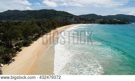 Aerial View Drone Camera Of Tropical Beach At Kata Beach Phuket Thailand Amazing Beach Beautiful Sea