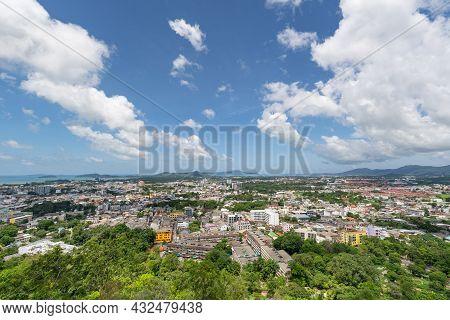 Viewpoint At The Hilltop Of Khao Rang See View Cityscape Of Phuket Island Phuket Thailand.