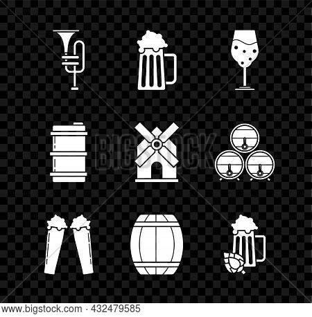 Set Musical Instrument Trumpet, Wooden Beer Mug, Glass Of, Barrel, And Hop, Metal Keg And Windmill I