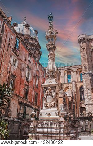 Naples, Italy. Magnificent Town In The South Of Italy. Street View Of Old Town In Naples City. San G
